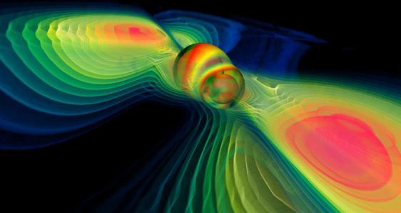 Numerical simulation of two merging black holes performed by the Albert Einstein Institute in Germany: what this rendition shows through colors is the degree of perturbation of the spacetime fabric, the so-called gravitational waves. Image credit: Werner Benger.