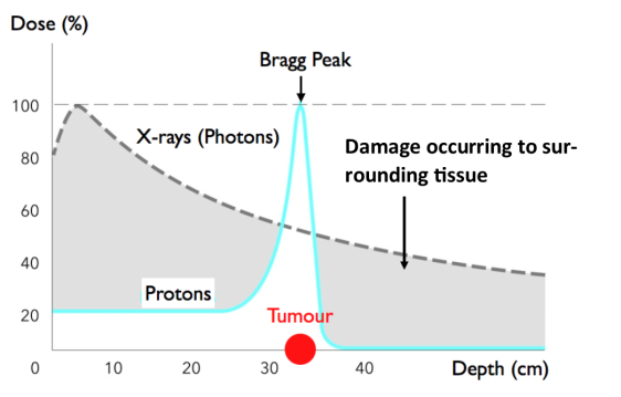 A picture worth a thousand words. Radio-therapy employs X-ray photons, that is to say the same particles that make up visible light but with endowed higher energy. In their path to the tumor, X-rays deposit a non-negligible fraction of their radiation dose to healthy tissues. On the contrary, we can see from the picture that protons, the positively-charged constituents of atomic nuclei, are much more effective in reaching the deep-lying tumor, without damaging other body parts.